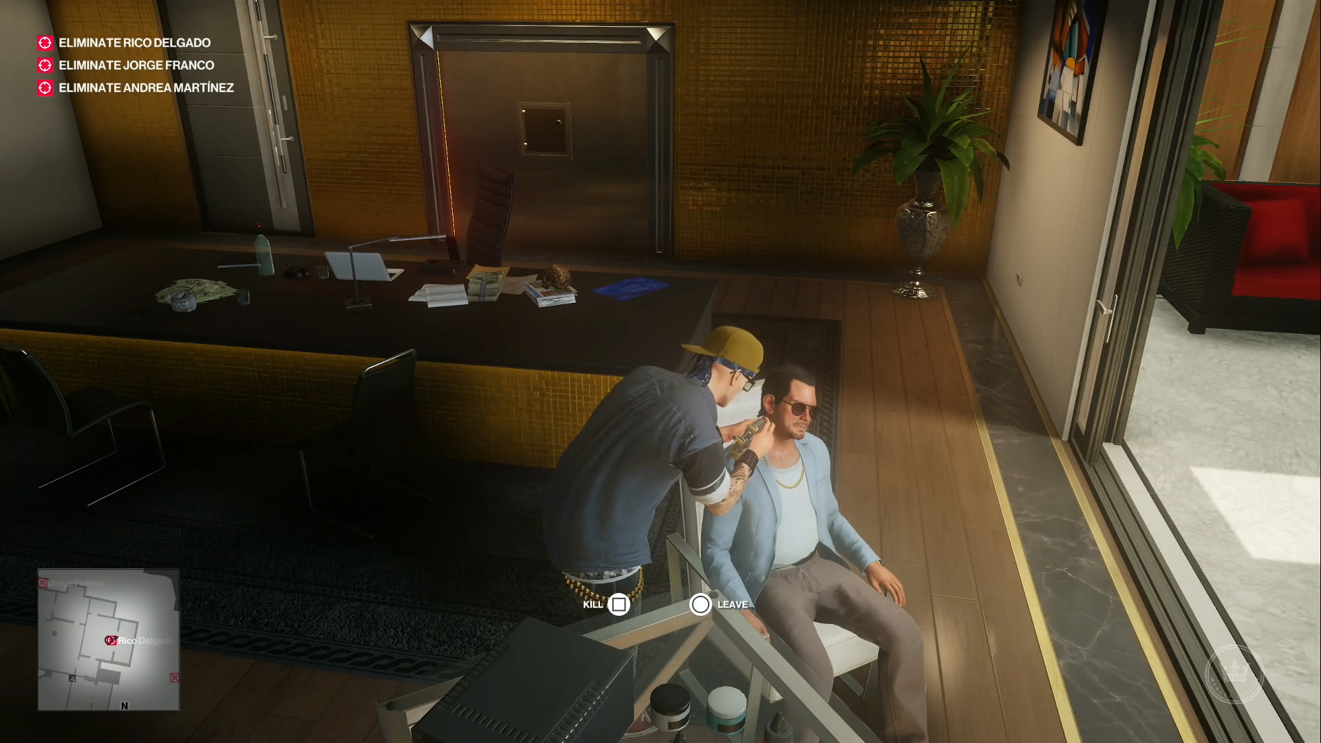 Agent 47 in street threads, tattooing the neck of one of his targets.