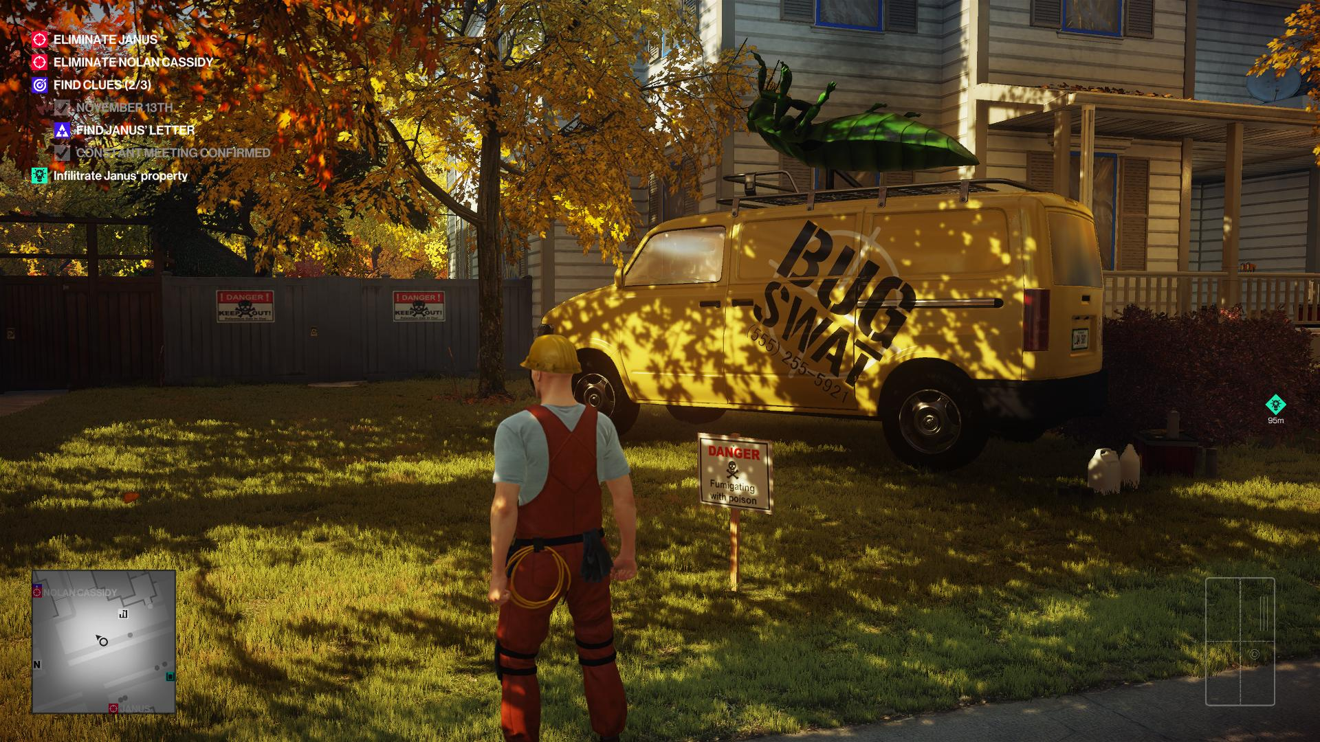 "Agent 47, disguised as a pest controller, standing near a van with ""Bug Swat"" on the side and a dead bug on the top."