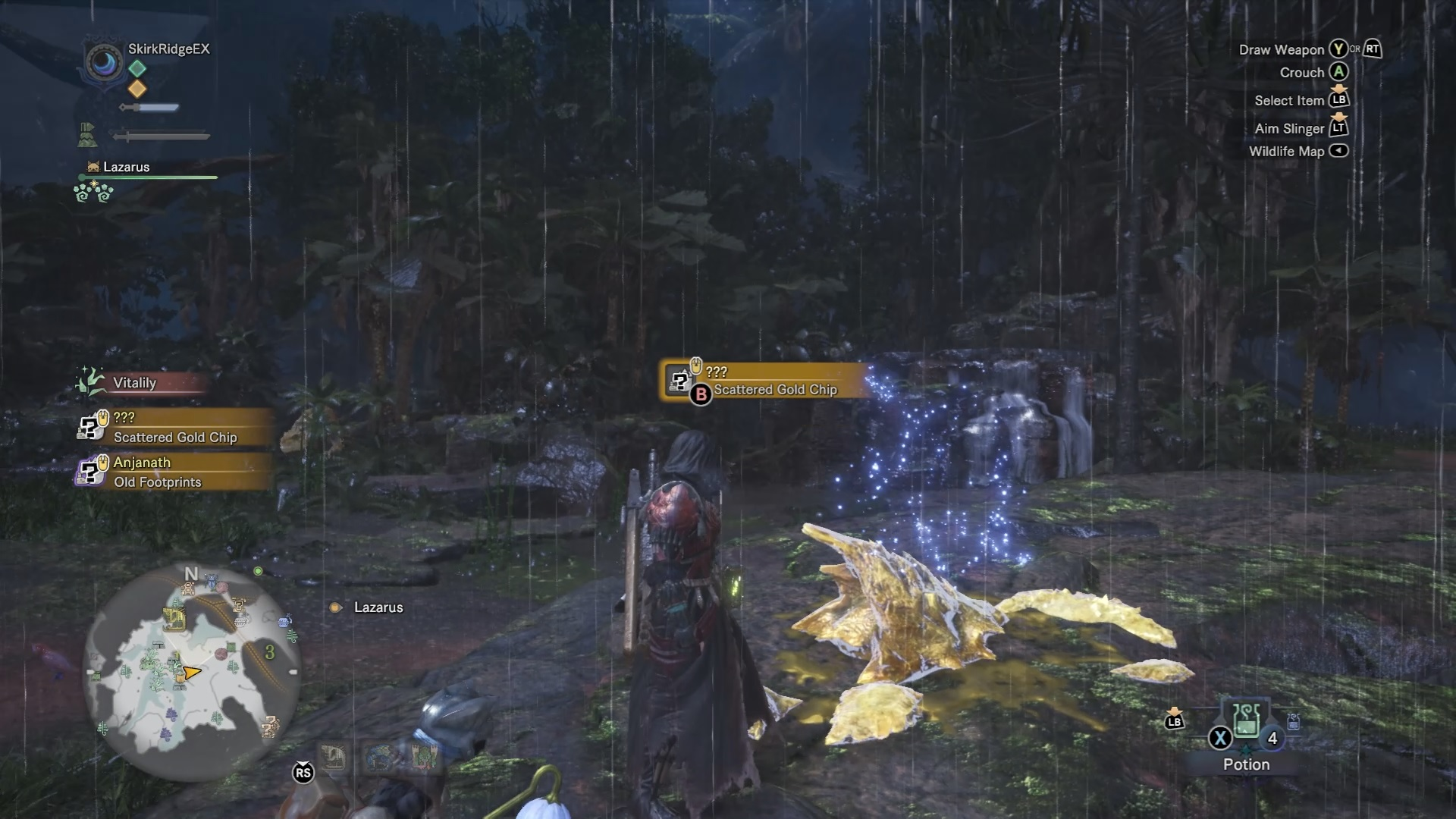 One of Kulve Taroth's chips in the Ancient Forest
