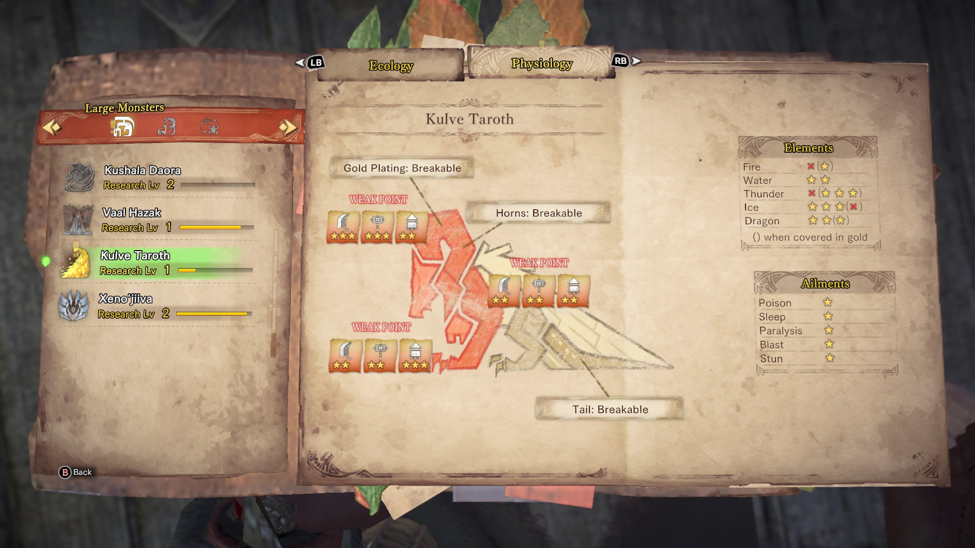 Kulve Taroth's entry in the monster field guide.