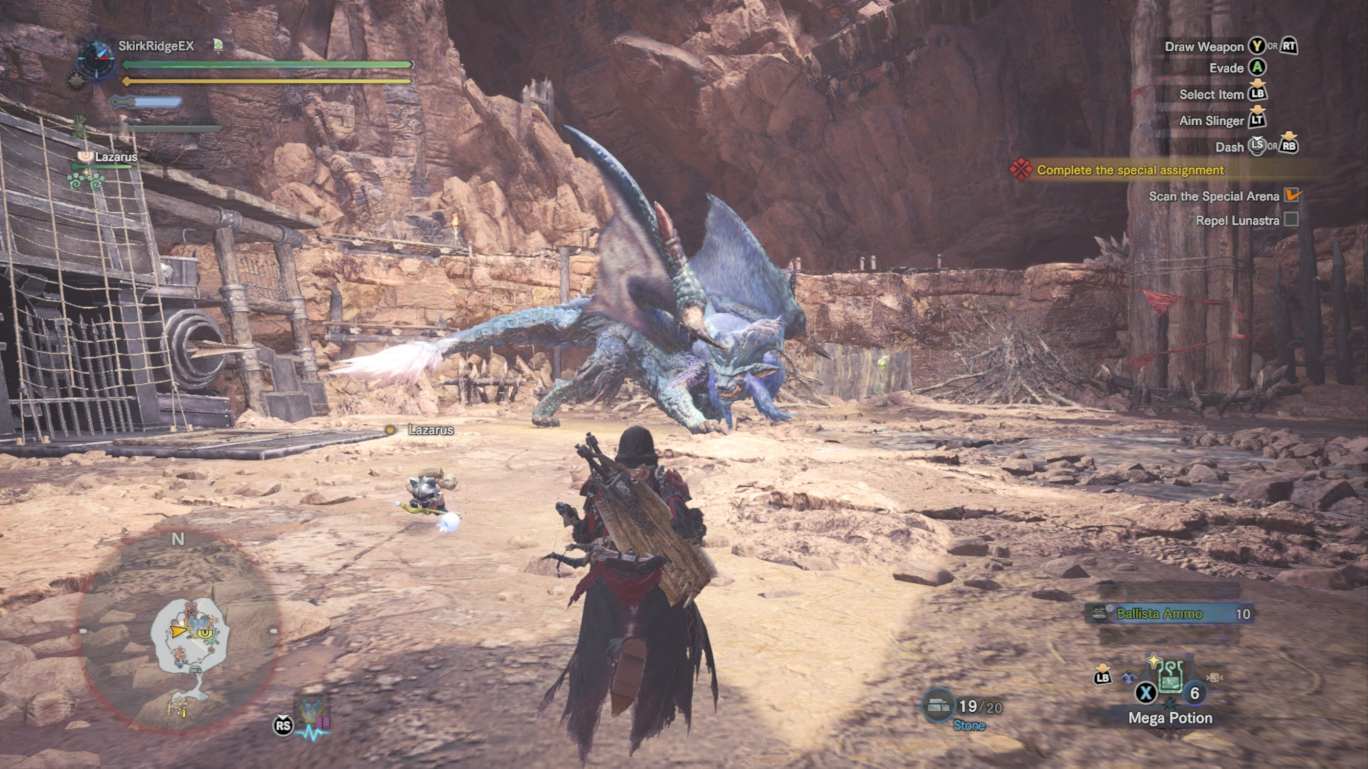 Fighting Lunastra in the arena.