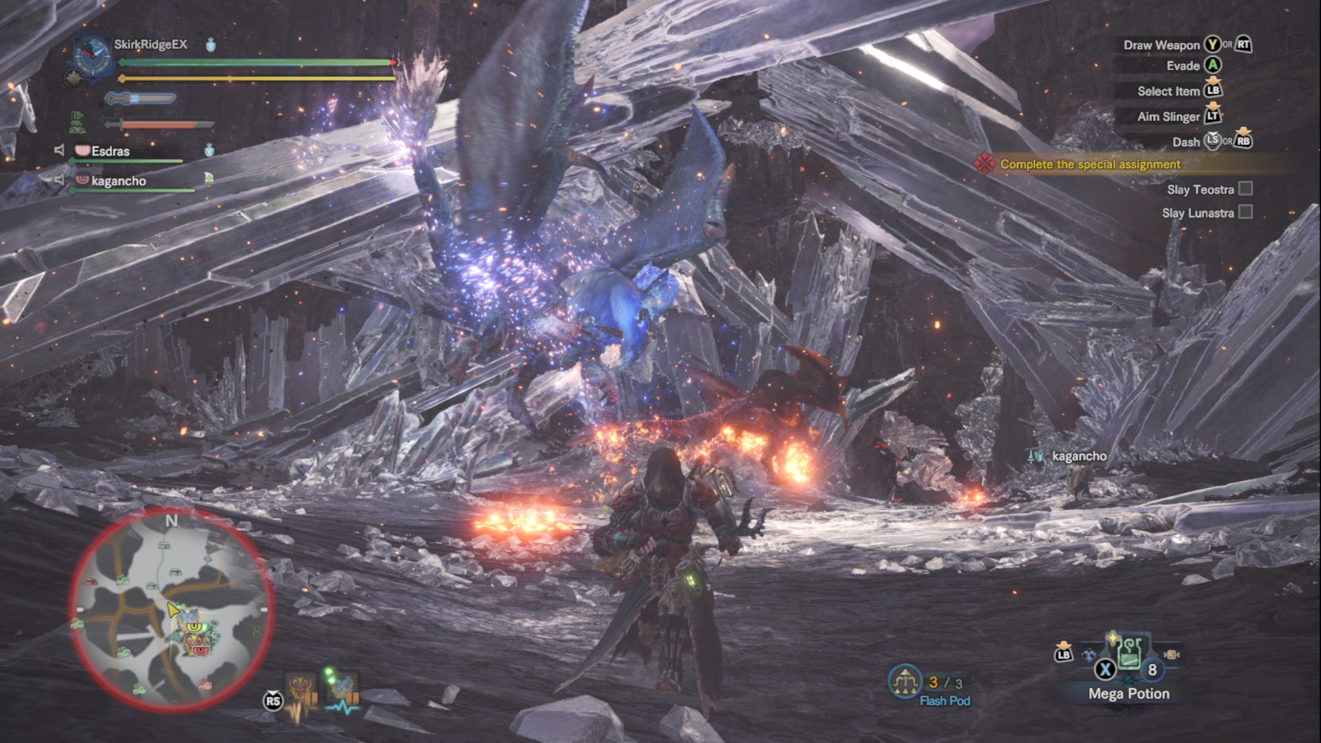 Hunters fighting both Teostra and Lunastra in the Elder's Recess.