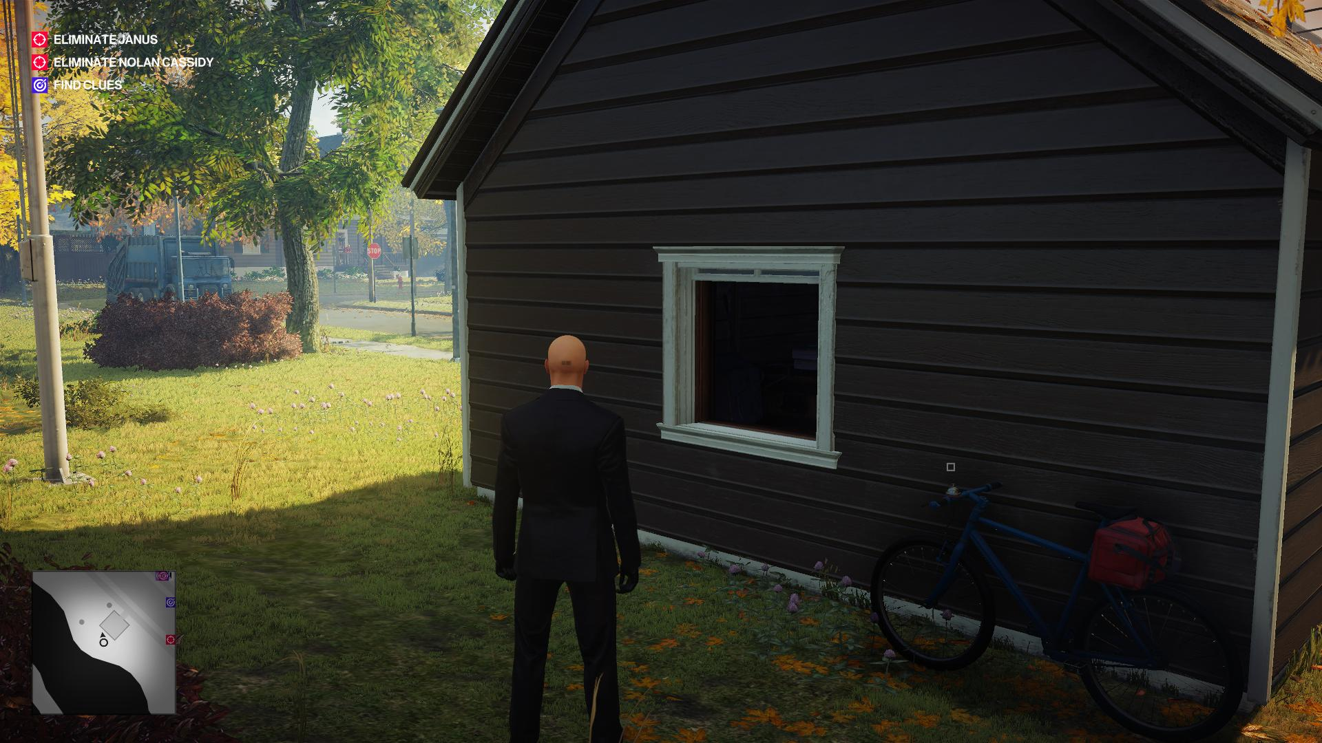 Agent 47 standing outside Nolan Cassidy's window.