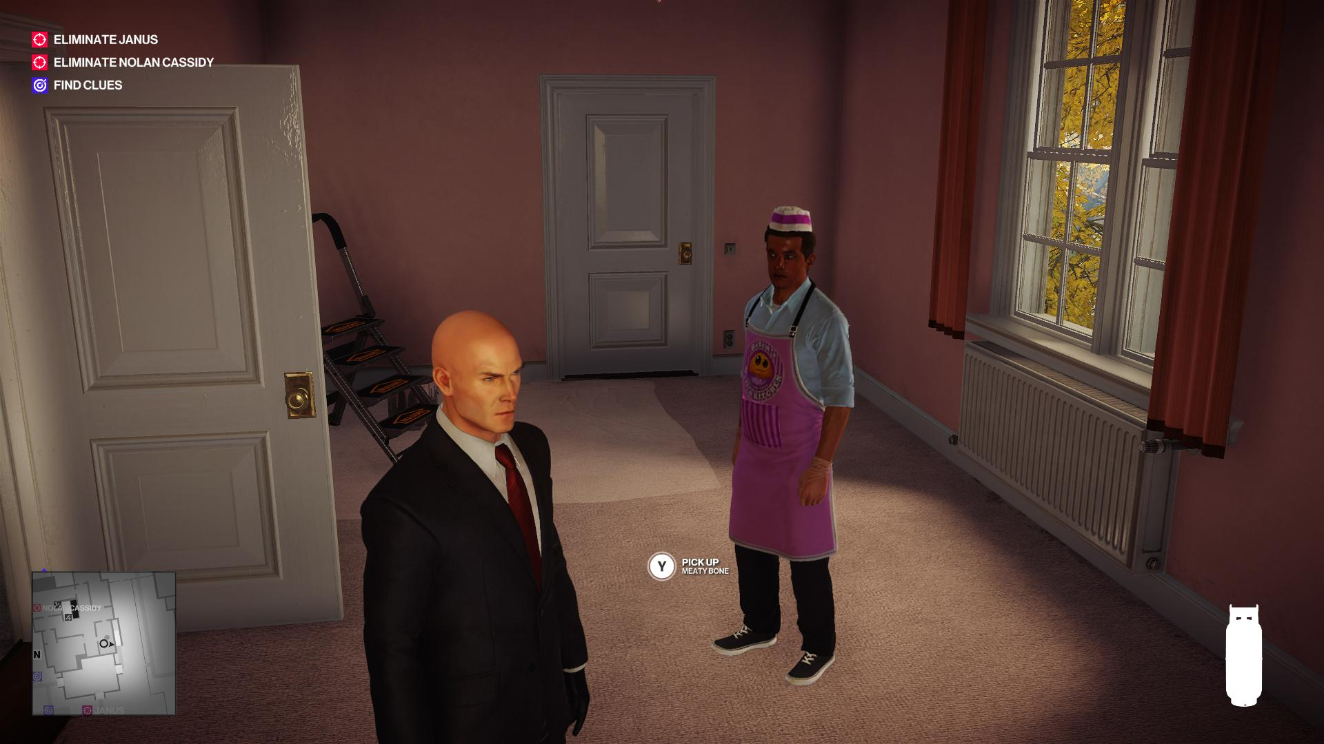 "Agent 47 standing awkwardly in a pink room with a fast food salesman. There is allegedly an option to pick up a ""Meaty Bone""."