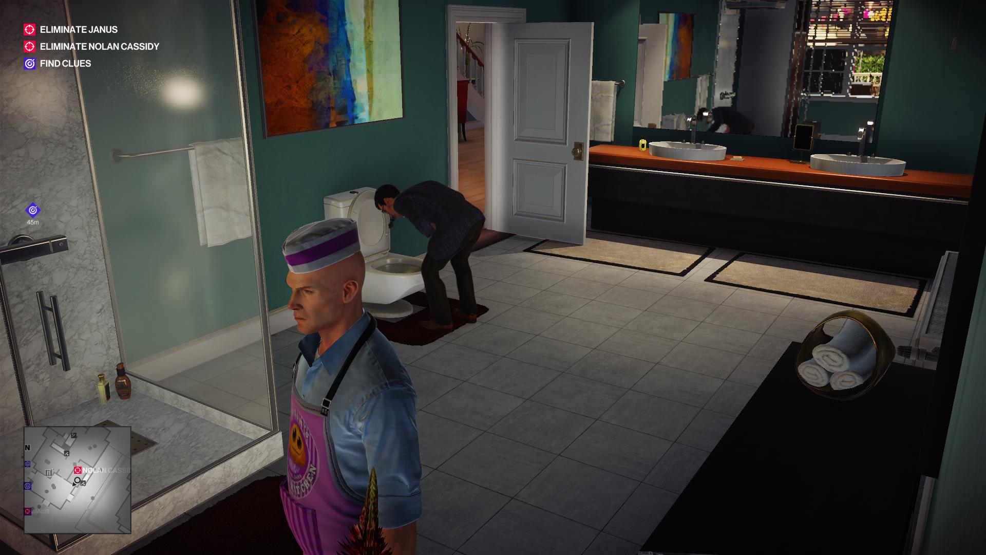 Agent 47 dressed as a burger salesman looking suspicious as a man throws up in the toilet nearby.
