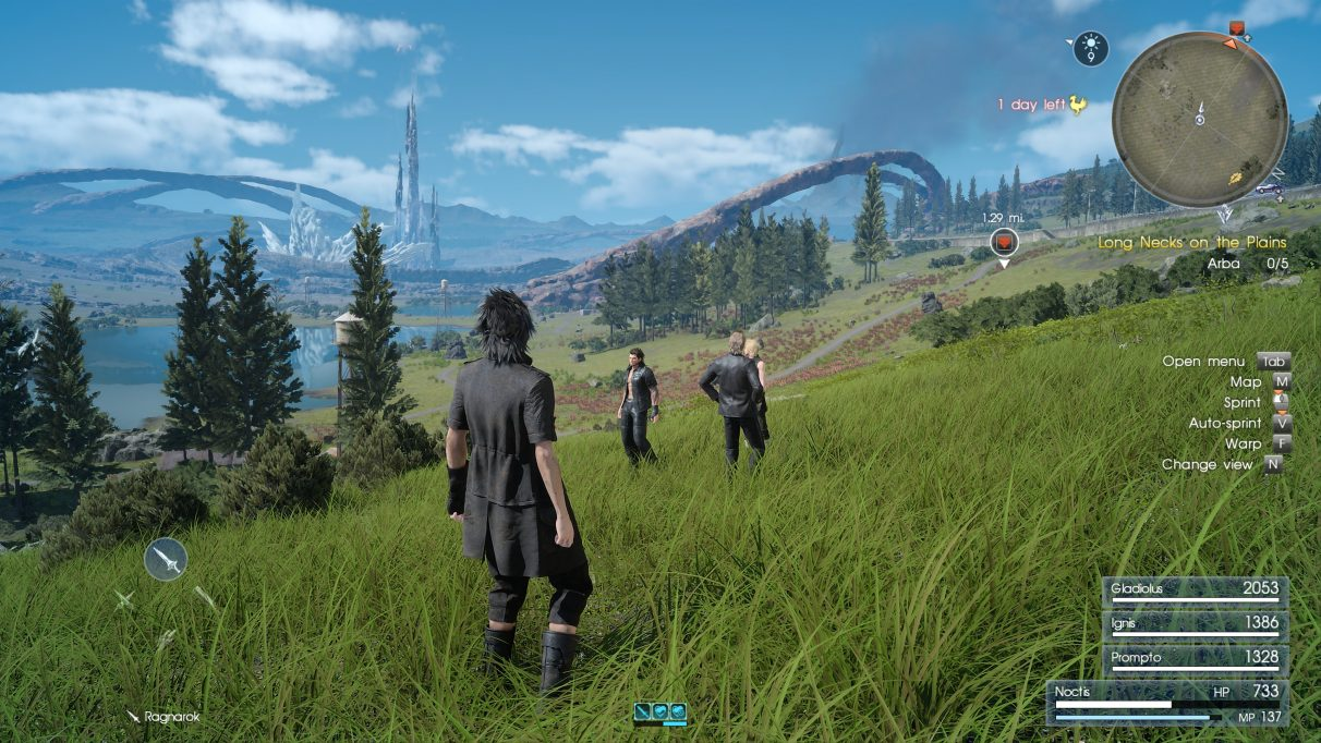 A screenshot of Final Fantasy 15 with DLSS enabled