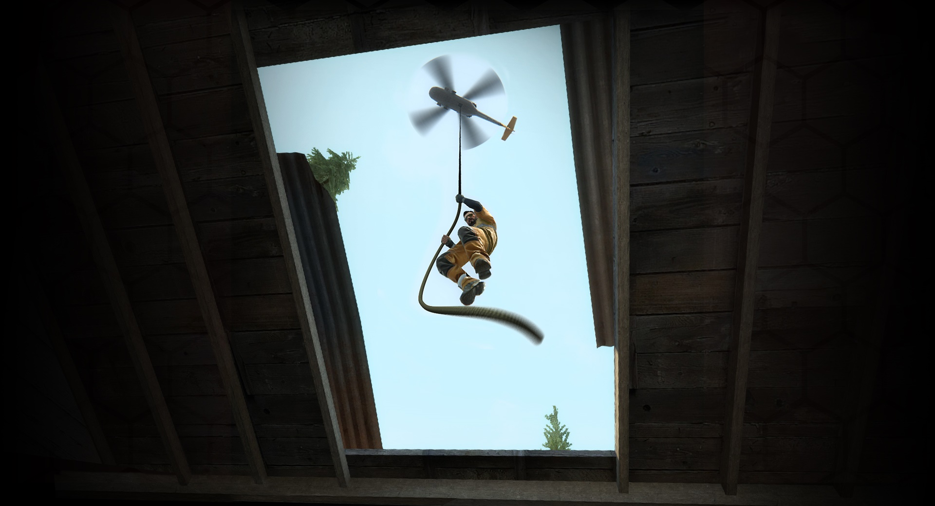 Looking up through the sunroof of a building as a man in full combat gear rappels down from a helicopter