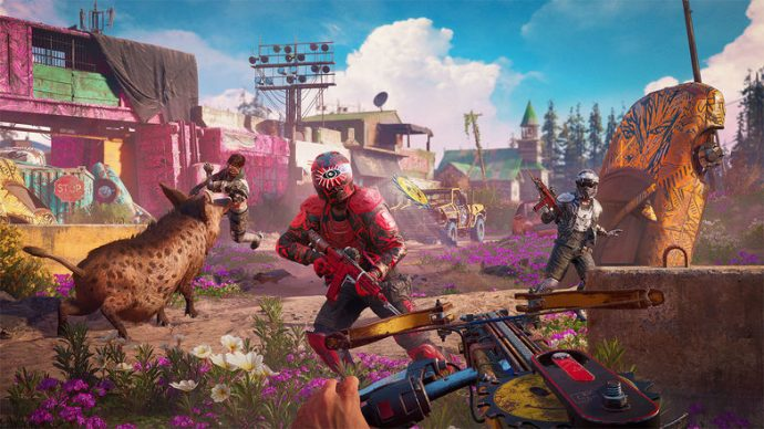 Player fighting against multiple enemies in the neon post-apocalypse of Far Cry: New Dawn