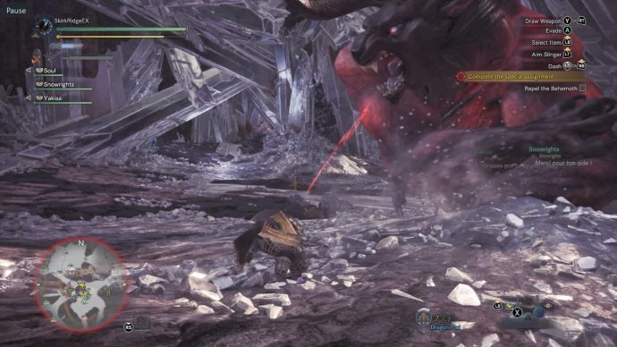 Hunter has attracted the Behemoth's attention so that the other players can attack it without worrying about being attacked too much. Behemoth just took a swipe at the hunter which he dodged.