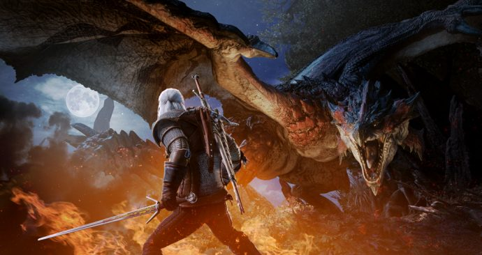 Geralt of Rivia, taking on a Rathalos.