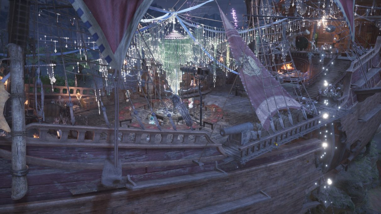 The Gathering Hub in Astera has been decorated for the winter event. Palicos have snowman costumes and the human staff have winter coats. Fireworks are being lit in the centre of the ship.