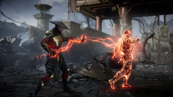 Raiden zapping Scorpion with red electricity in a ruined Shaolin temple.