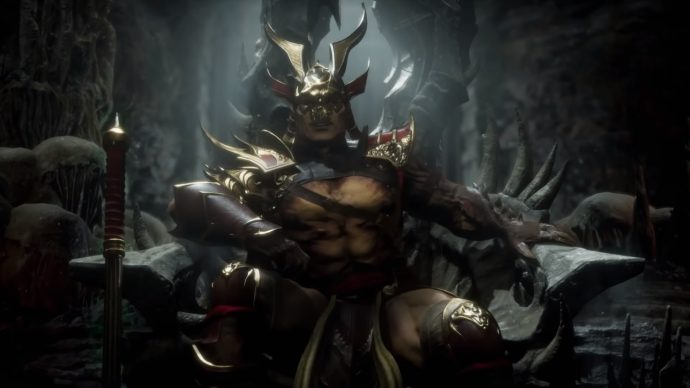 Shao Kahn sitting on his throne in Outworld.