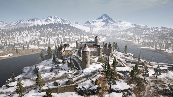 Aerial view of the Castle in Vikendi.