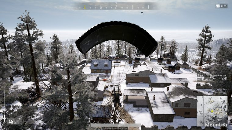 Player is about to land his parachute.
