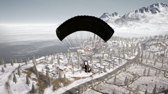 Player is parachuting in on a few shacks that are to the south of Dobro Mesto. There's decent loot in there for one player.