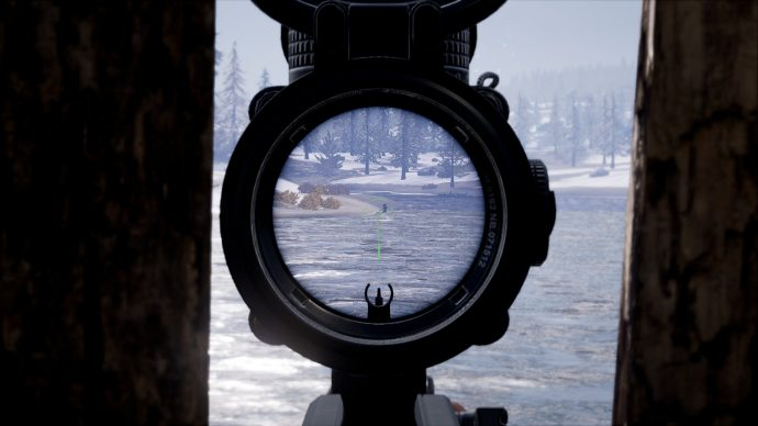Player is sniping another player swimming in a lake.
