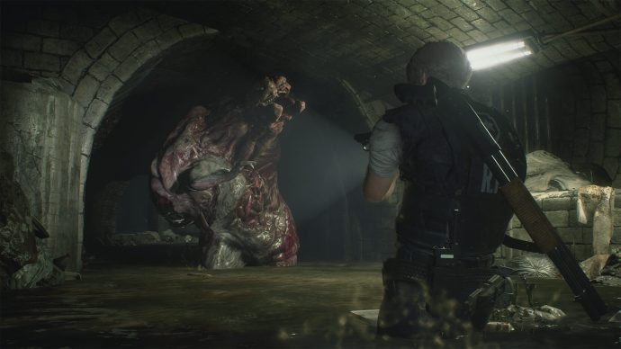Leon Kennedy fighting a sewer monster.