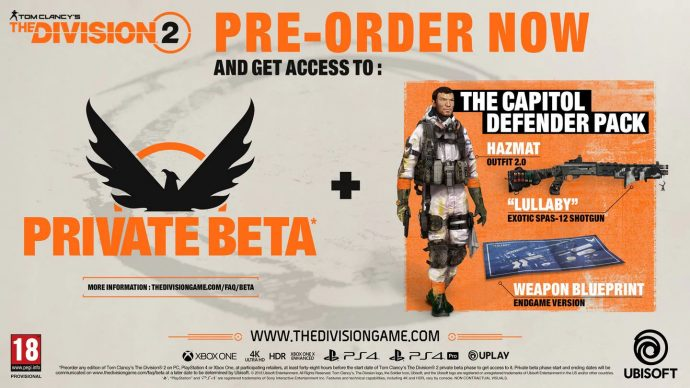 Ubisoft's Division 2 pre-order promotional material.