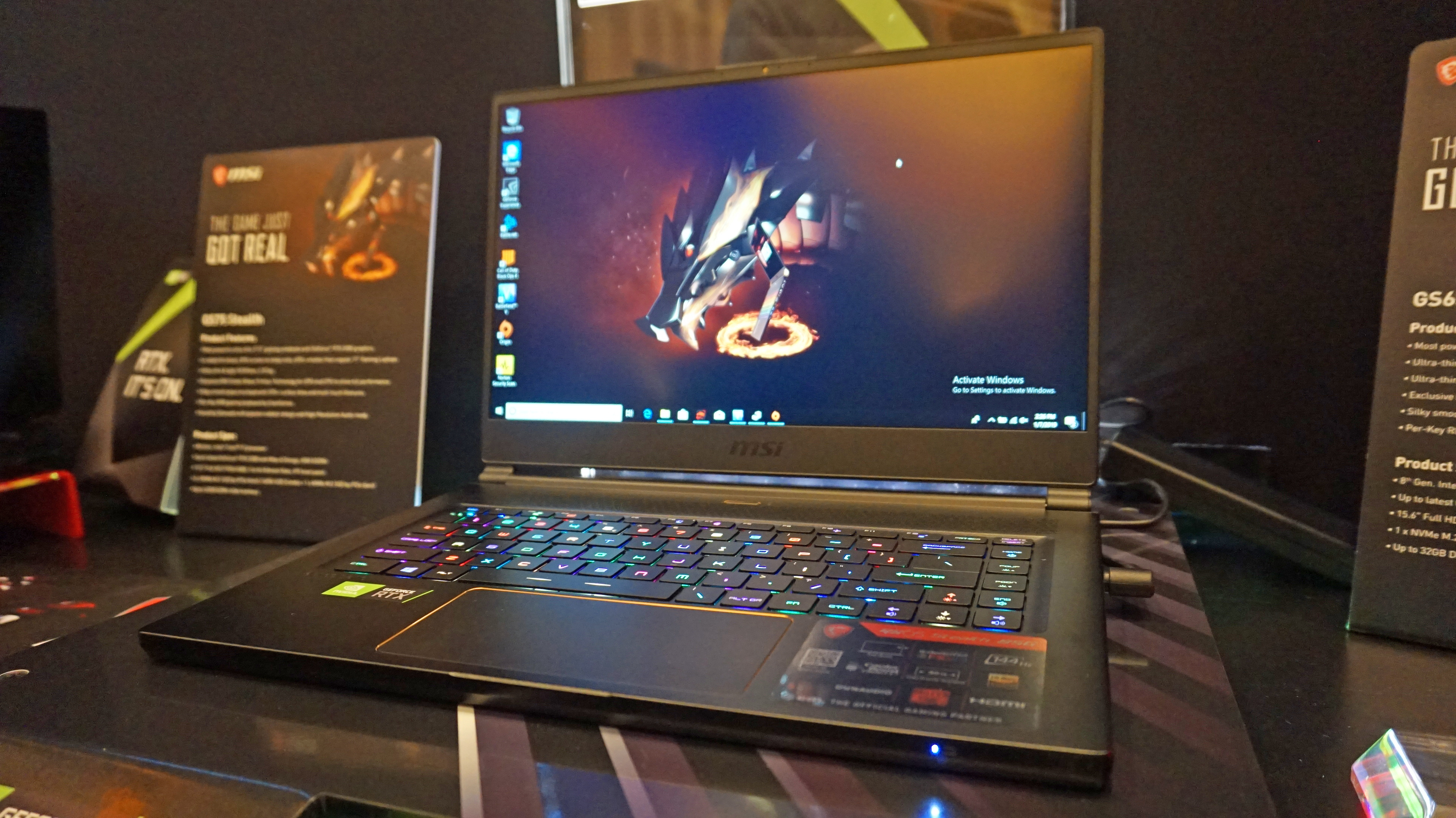 Jan 9 CES 2019: MSI s ultra thin GS65 Stealth laptop gets an RTX