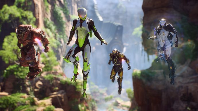 The four Javelins of Anthem. From left to right they are: Colossus, Interceptor, Ranger, and Storm.