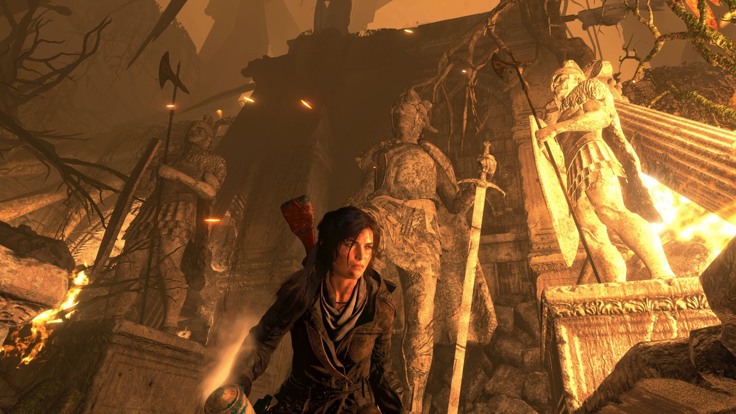 Lara's statue impression needs work, as does this lame-ass caption.