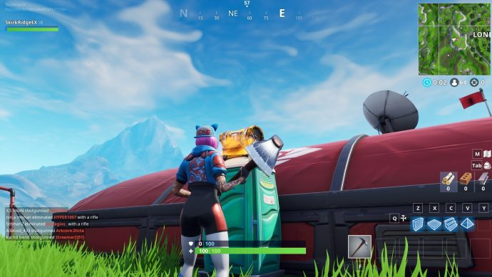 Fortnite chest on top of a portable toilet.