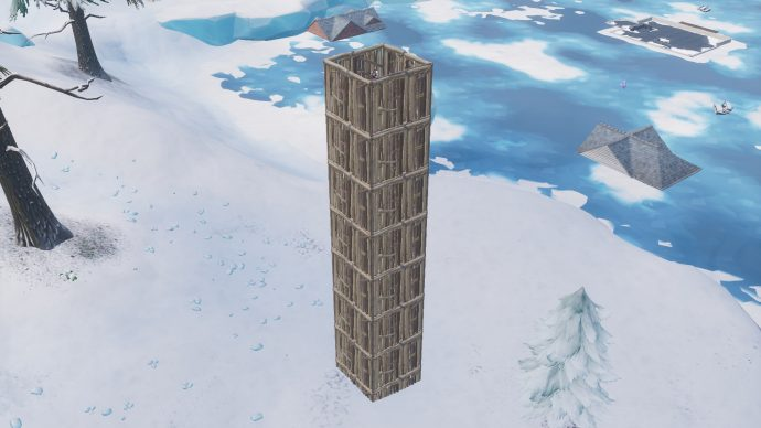 An example of a 1x1 tower made out of wood.