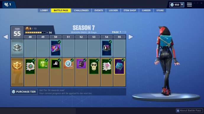 The battle pass rewards, with all of the section on the page unlocked.