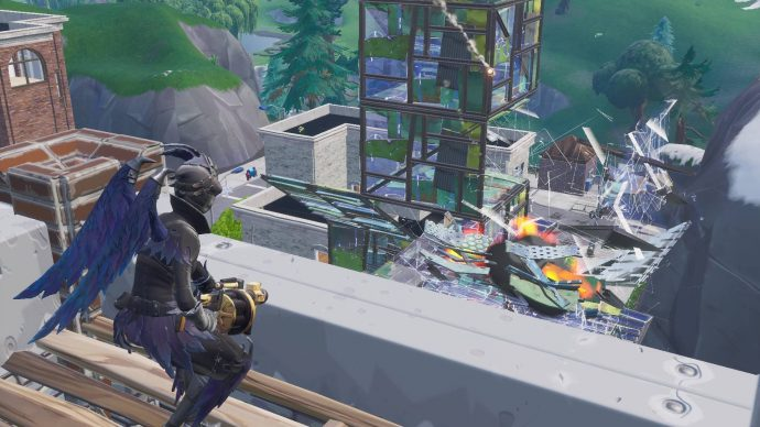 Destroying a player's metal build with a grenade launcher.