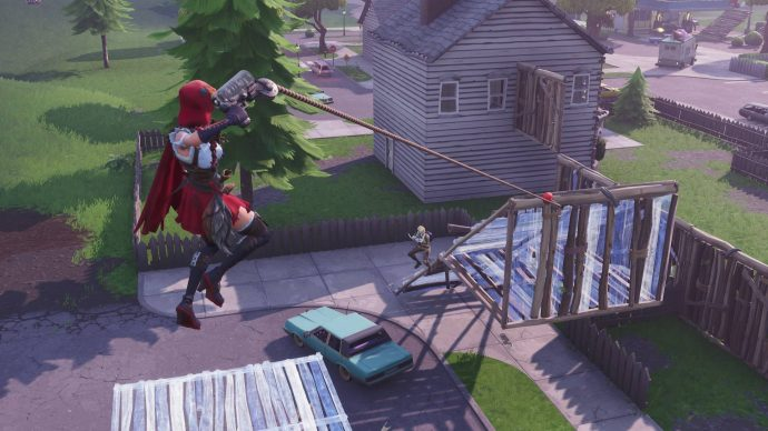 Using the Grappler to latch on the ramp another player is building.