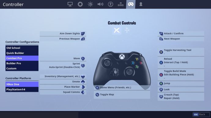Options for changing controls to either Xbox One or PlayStation 4 pads - there are presets and custom options for both.