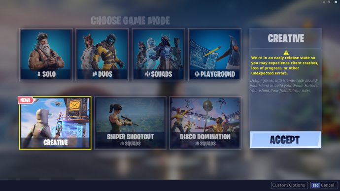 Creative mode in the Choose Game Mode screen