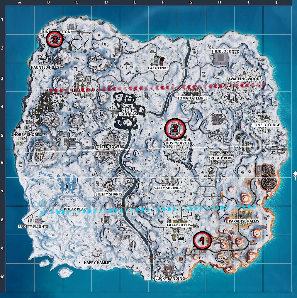 The three dancing locations for Week 9's dancing challenge.