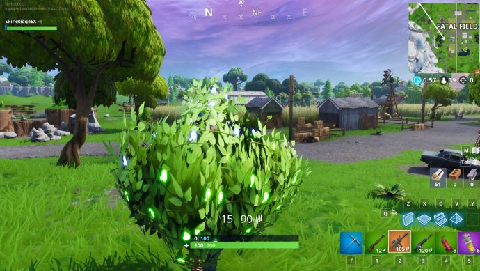 Hiding in a bush with a thermal sniper rifle in the Fatal Fields region.