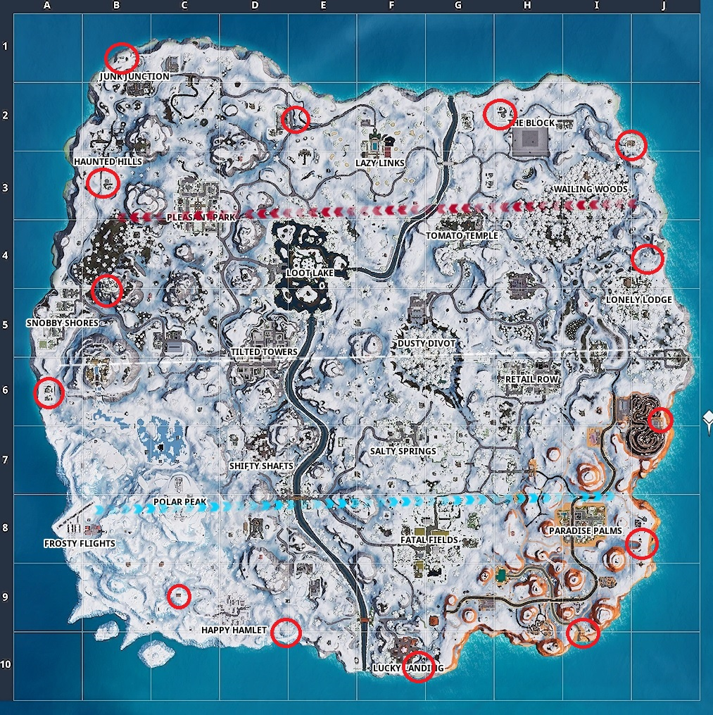 Map locations for the Fireworks in Fortnite.