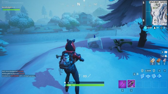 Gnome just south of Snobby Shores up a hill.