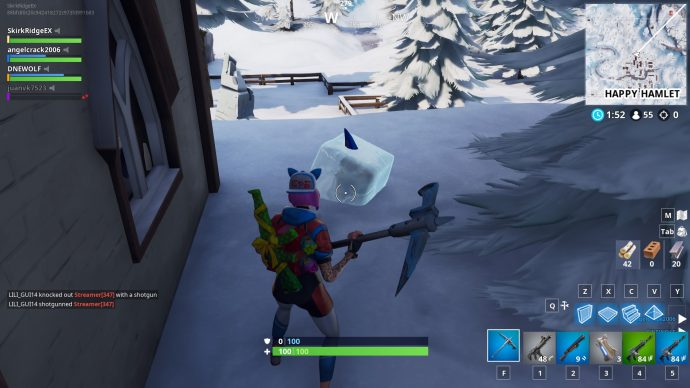 A gnome encased in ice near Happy Hamlet