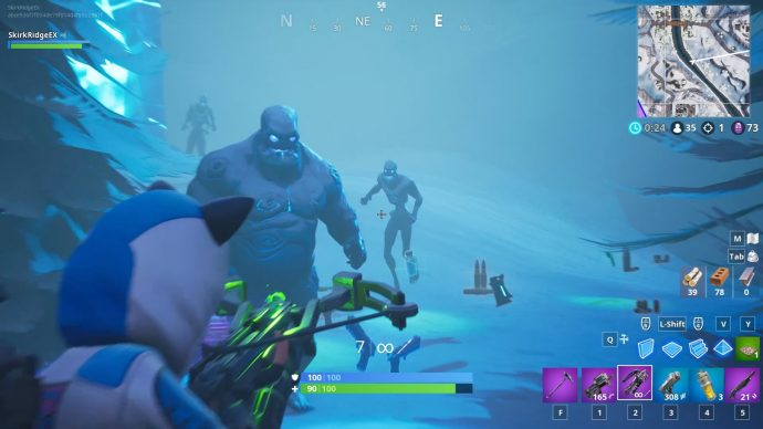 A Brute and two fiends approach the player armed with a crossbow.