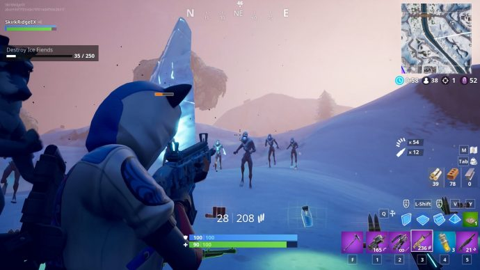The player is shooting at the Ice Legion emerging from their icy monolith.