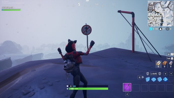 A Dusty Divot no dancing sign, on the north eastern edge of the cliff.