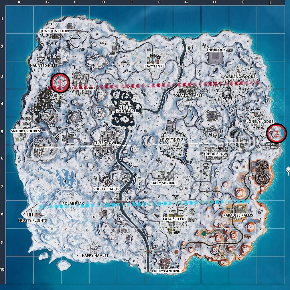 Map for the two piano locations in Fortnite.