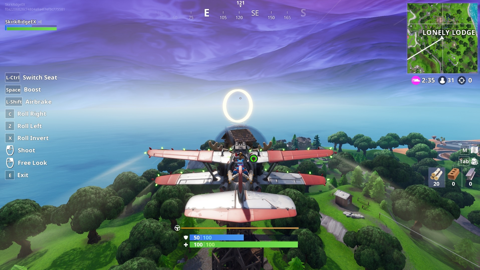 Player about to fly through a golden ring near Lonely Lodge.