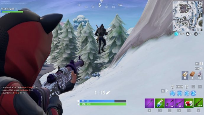 Player aiming to shoot another player who is fleeing after running out of bullets.