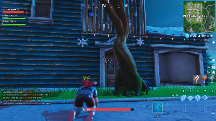 Some snowflakes to destroy in Pleasant Park. Ignore the fact the player is downed, just look at the snowflakes!