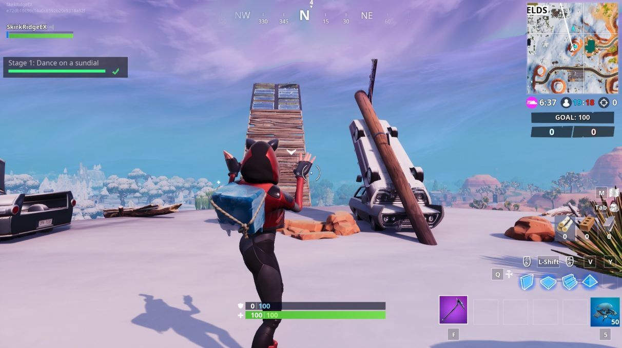 fortnite week 9 dance locations sundial oversized cup of coffee giant metal dog head - map fortnite coffre