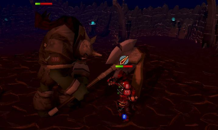 A boss with an axe clobbers a non-boss with no axe and it looks like it hurts.
