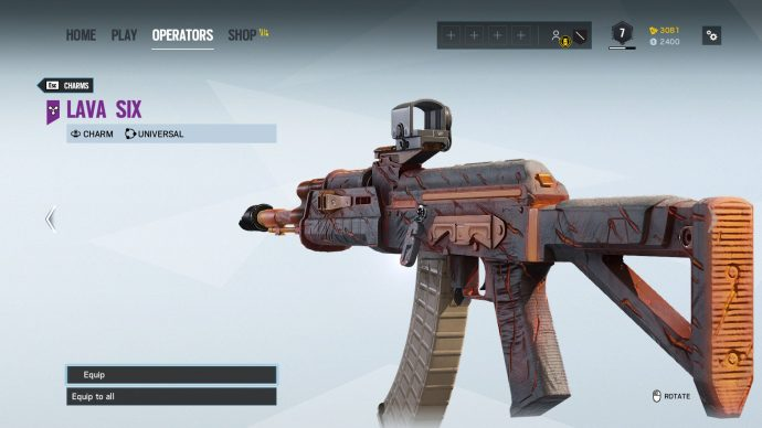 Year 4 Early Purchase volcano weapon skin and Lava Six charm, on Nomad's AK.