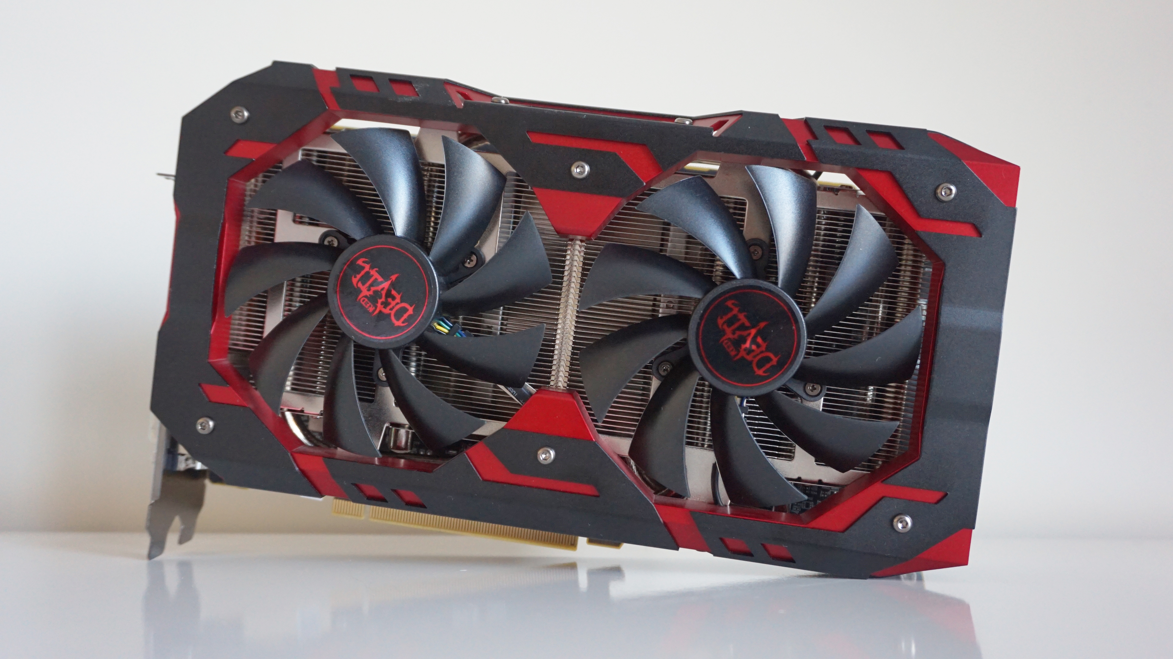 A photo of the Powercolor Radeon RX 590 Red Devil graphics card.