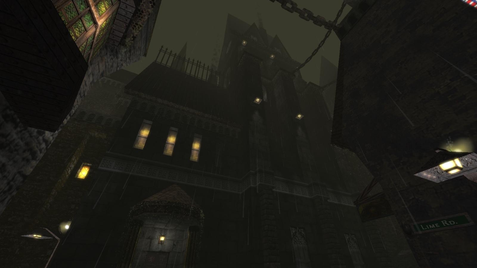 A rain-slick street in Thief 2 fan-mission Endless Rain